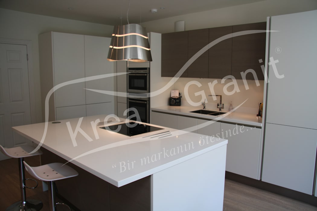 Dupont Corian Glacier White Mutfak Tezgahı:  Kitchen by KREA Granit- Mutfak Banyo Tezgahları