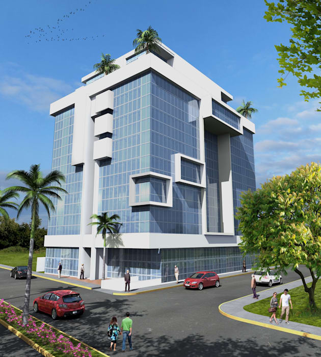 Fachada Principal Casas minimalistas de Milla Arquitectos S.A. de C.V. Minimalista Vidrio