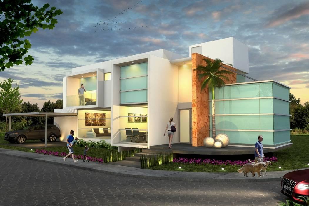Fachada Principal, vista nocturna Casas minimalistas de Milla Arquitectos S.A. de C.V. Minimalista