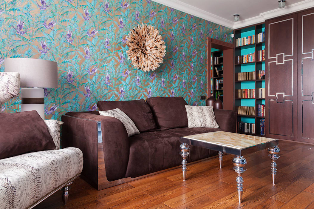 MM-STUDIO Eclectic style living room Turquoise
