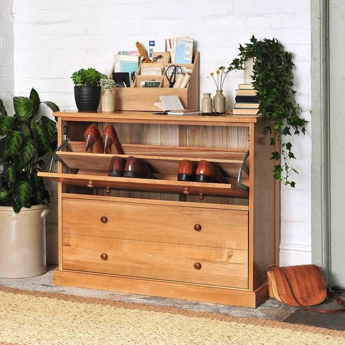 Appleby Oak Shoe Chest Коридор, прихожая и лестница в стиле кантри от The Cotswold Company Кантри Дерево Эффект древесины