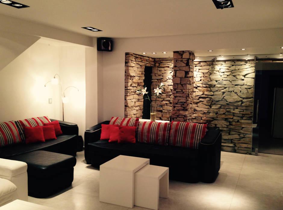 ARQUITECTURA INTERIOR Livings modernos: Ideas, imágenes y decoración de CubiK Moderno Piedra