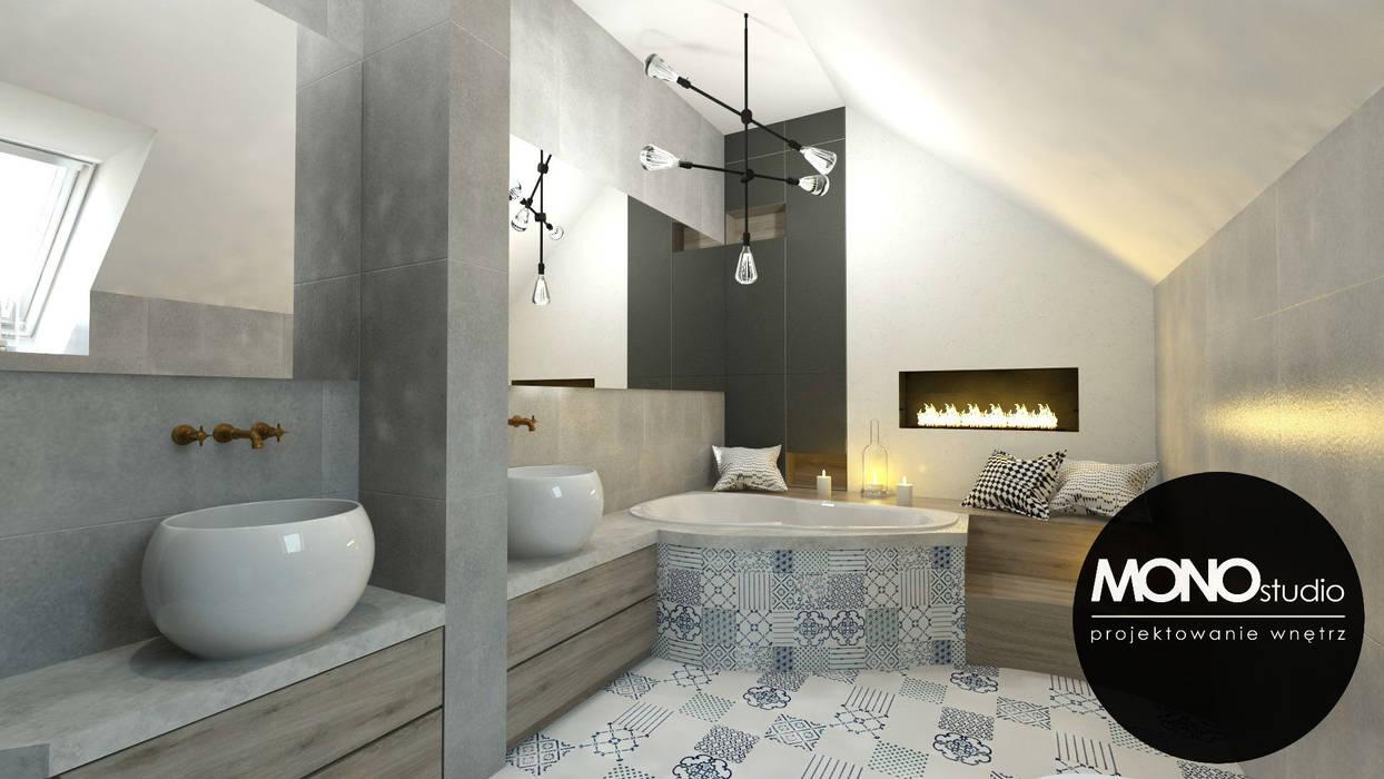 Oryginalna łazienka dla kreatywnego singla: styl , w kategorii Łazienka zaprojektowany przez MONOstudio