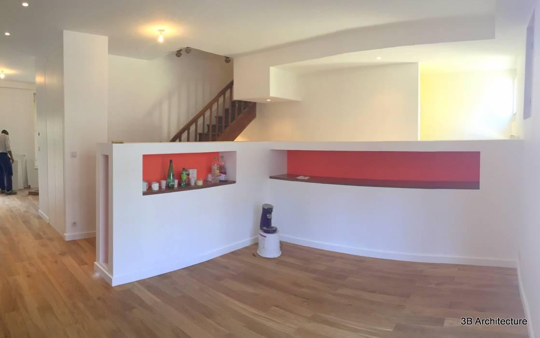 Maison A02 Salon moderne par 3B Architecture Moderne Bois Effet bois