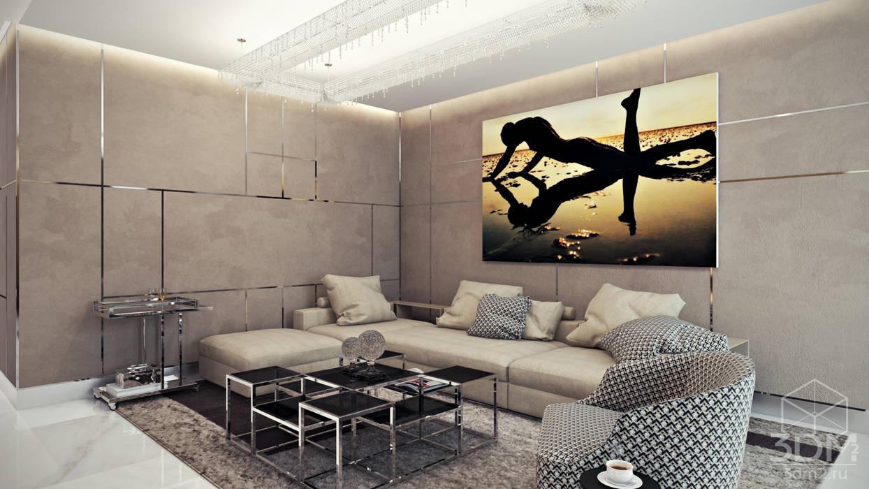 Квартира-студия в стиле Хай-тек Гостиная в стиле минимализм от студия визуализации и дизайна интерьера '3dm2' Минимализм