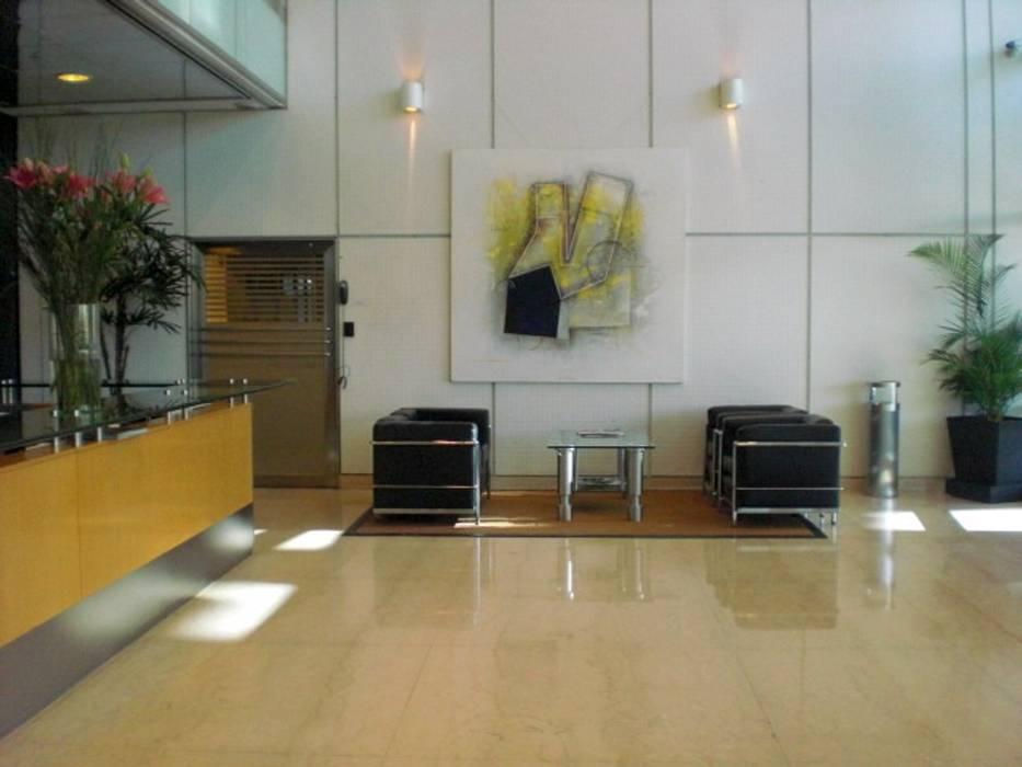 espacio con arte: Estudios y oficinas de estilo  por Daniel Vidal,Moderno Cuero Gris