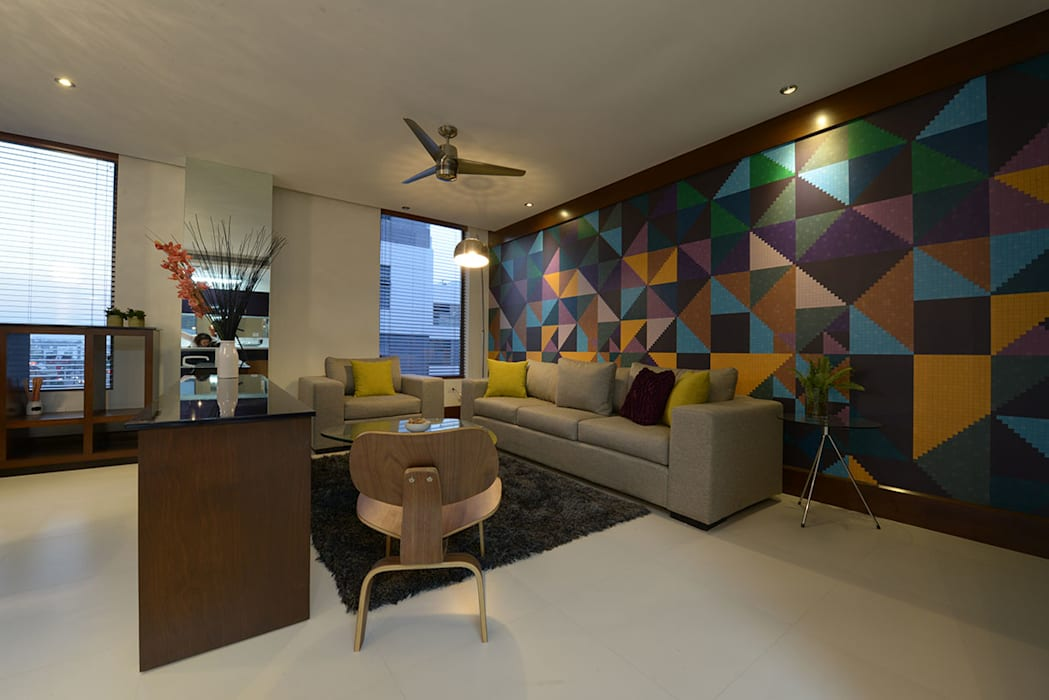 Fotomural colorido Salones de estilo moderno de ESTUDIO TANGUMA Moderno