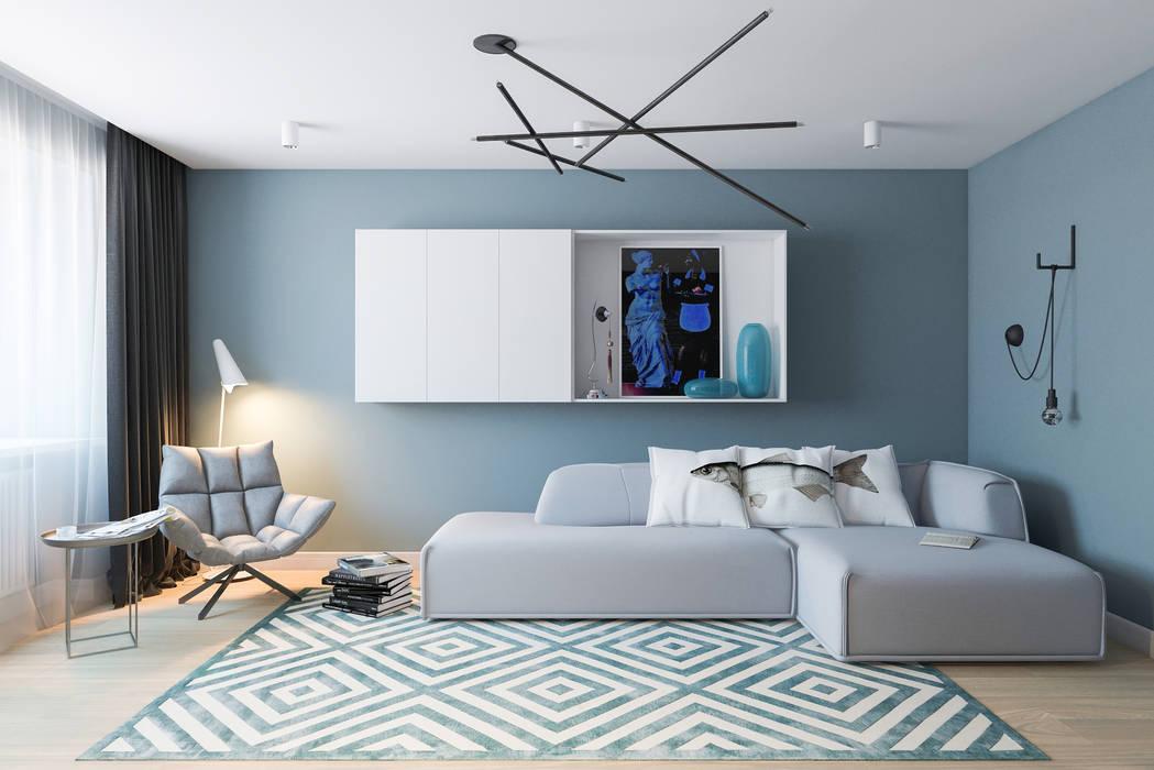 B. Apartments Гостиная в стиле модерн от Алена Булатая Модерн