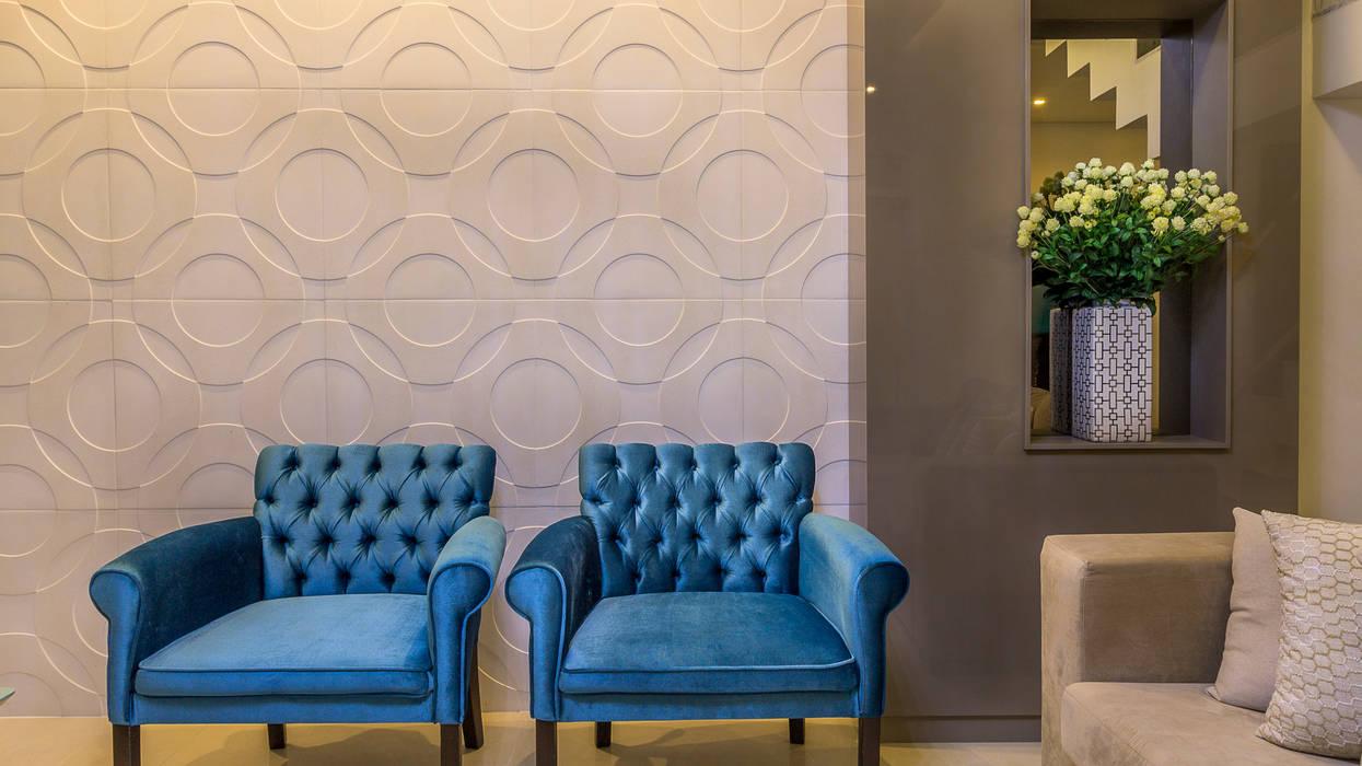 Residência A & F Lyssandro Silveira Minimalist living room Blue