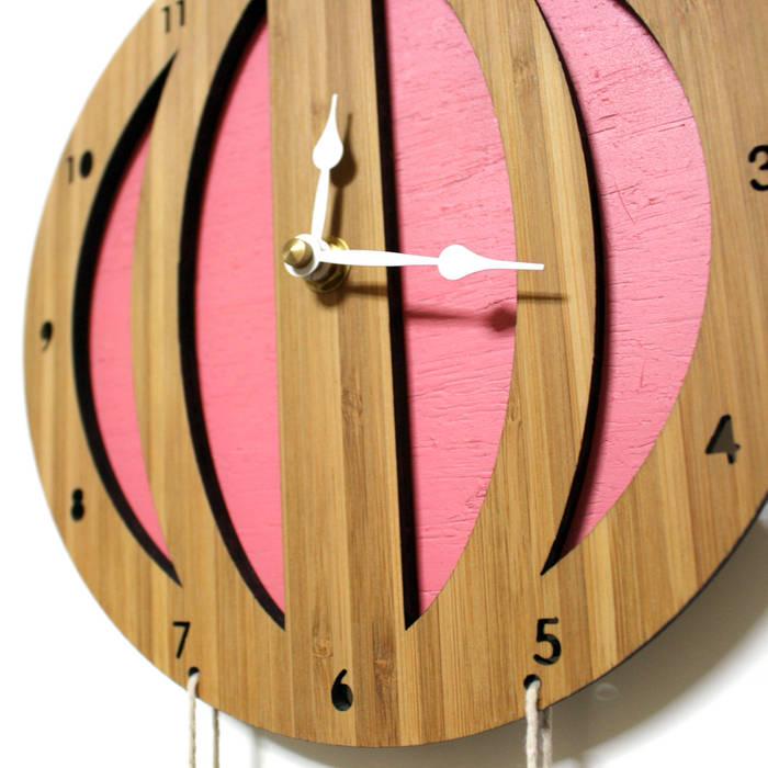 디코이랩 열기구 우드 벽시계(Decoylab Hot Air Balloon Clock), pink: Brillian Co.의 스칸디나비아 사람 ,북유럽 대나무 녹색