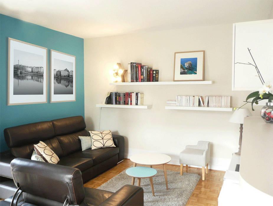 Espace détente, réception, tv & rangements: Salon de style de style Moderne par Skéa Designer