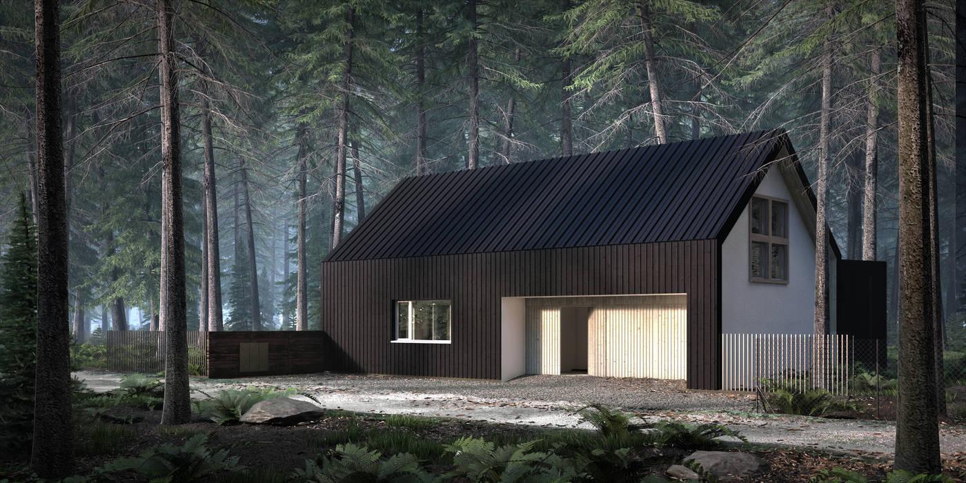 DOM CZARNO-BIAŁY Nowoczesne domy od KOZIEJ ARCHITEKCI Nowoczesny Drewno O efekcie drewna