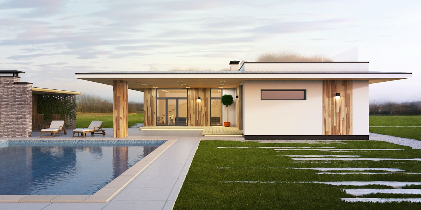 IK-architects Casas de estilo minimalista Madera Blanco