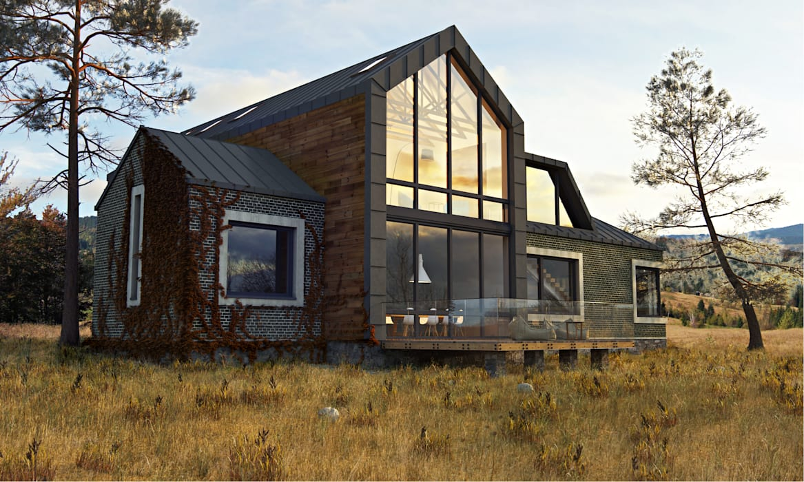 IK-architects Minimalist house Bricks Brown