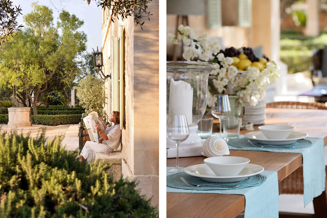 HOTEL CAL REIET – THE MAIN HOUSE Balkon, Beranda & Teras Gaya Mediteran Oleh Bloomint design Mediteran Parket Multicolored