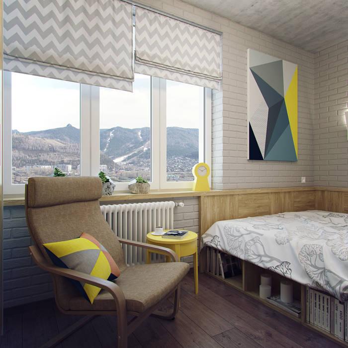 ห้องนอนขนาดเล็ก โดย Студия дизайна Марии Губиной , อินดัสเตรียล