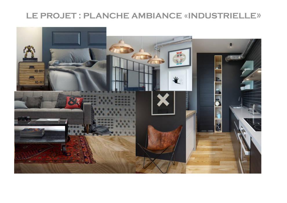PLANCHE AMBIANCE DU PROJET: Salon de style de style Industriel par INDEKOR