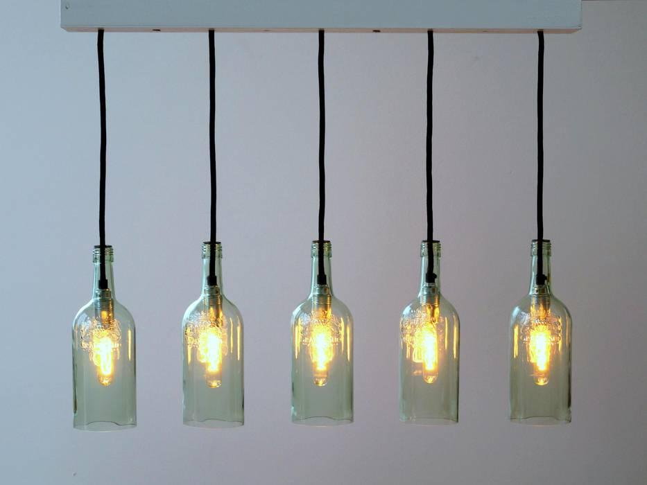 """Vintage Flaschenlampe Hängelampe """"cinco"""":  Wohnzimmer von Uniikat.de"""