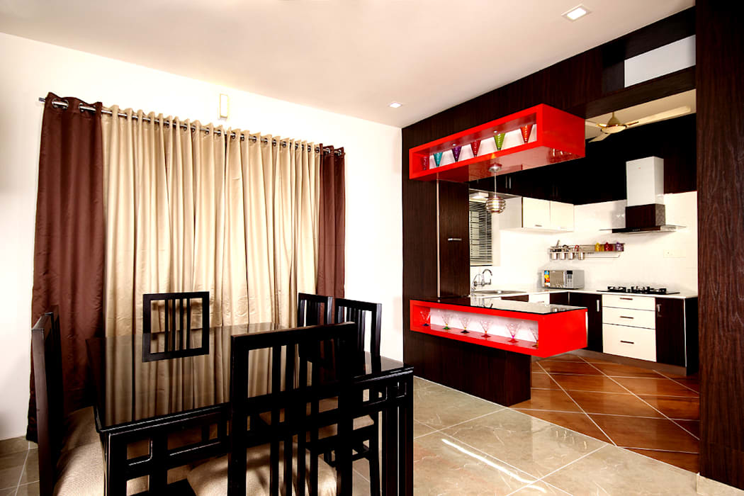 The dining.:  Dining room by Sanskriti Architects
