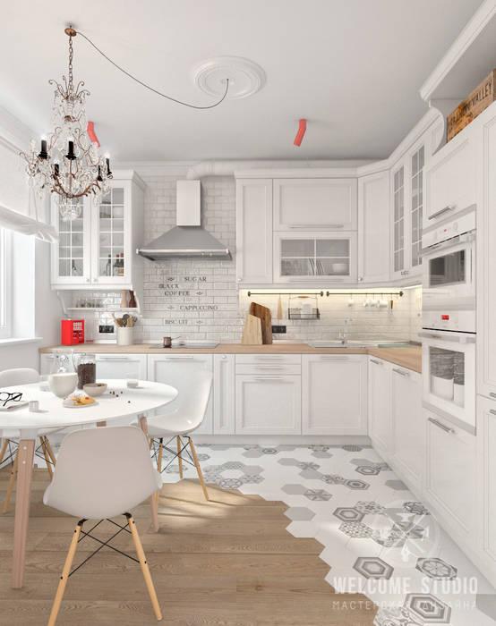 Четырёхкомнатная квартира в Москве «Scandinavian Breath»: Кухни в . Автор – Мастерская дизайна Welcome Studio