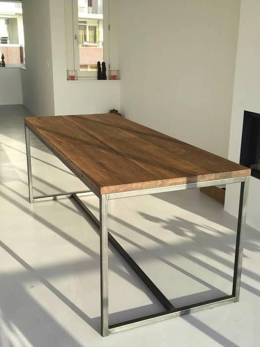 Houthandel van Steen | Man-made furniture Industriale Wohnzimmer Massivholz Holznachbildung