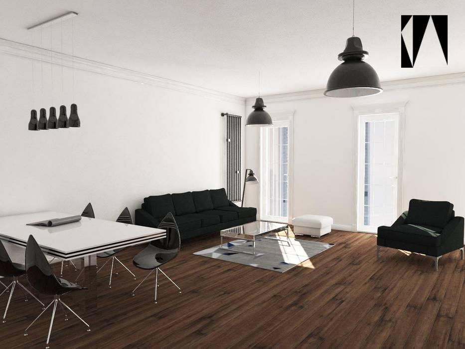 Widok na strefe wypoczynku: styl , w kategorii Salon zaprojektowany przez Katarzyna Wnęk