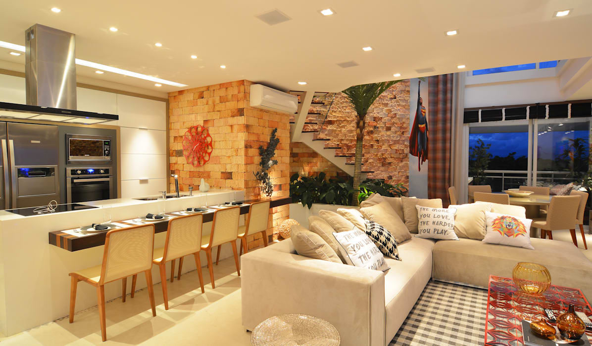 Living room by ANNA MAYA ARQUITETURA E ARTE, Rustic Bricks