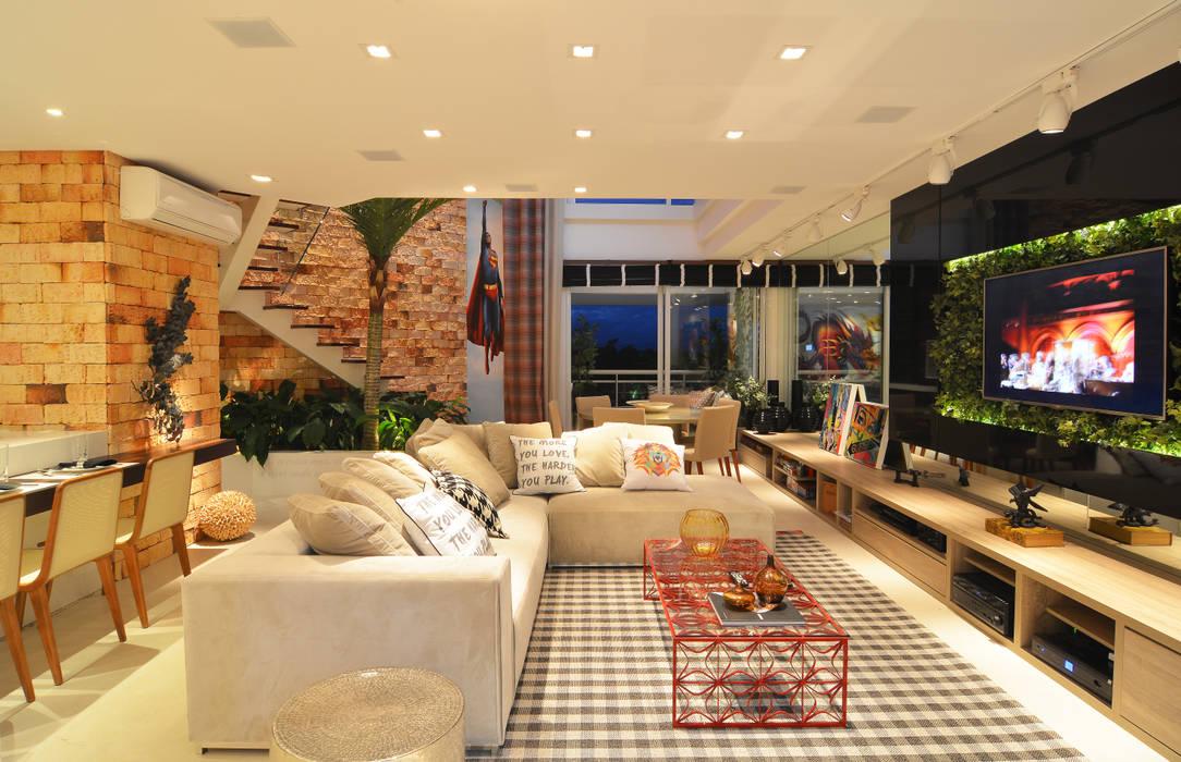 Loft Marine Home Resort ANNA MAYA ARQUITETURA E ARTE Salas de estar rústicas Tijolo Multi colorido