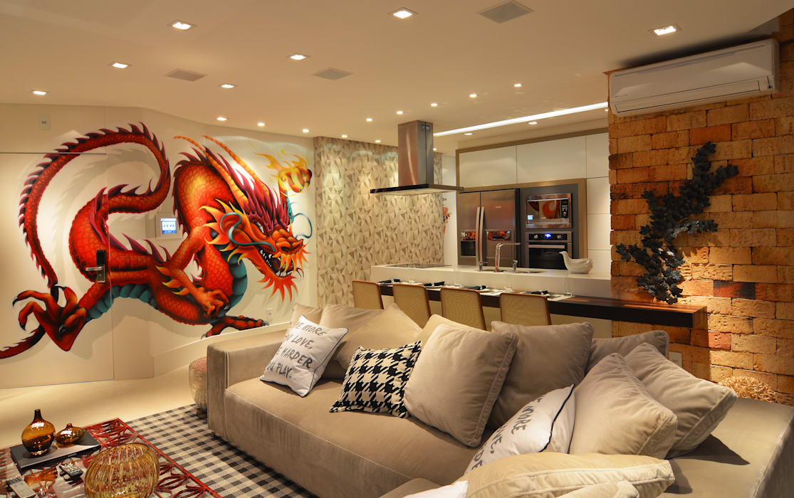 Loft Marine Home Resort ANNA MAYA ARQUITETURA E ARTE Cozinhas rústicas Vidro Multi colorido