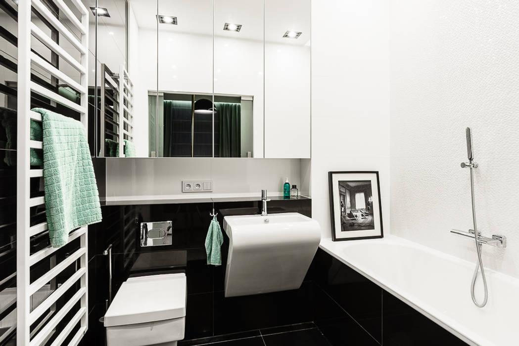 mieszkanie prywatne 3 pokoje czarno-białe - apartamenty na polanie - Gdynia Nowoczesna łazienka od Anna Maria Sokołowska Architektura Wnętrz Nowoczesny