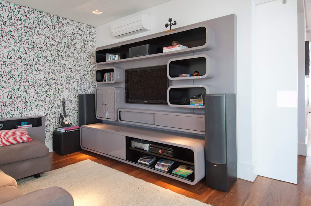 Casa Brooklin Salas multimídia modernas por Figoli-Ravecca Arquitetos Associados Moderno