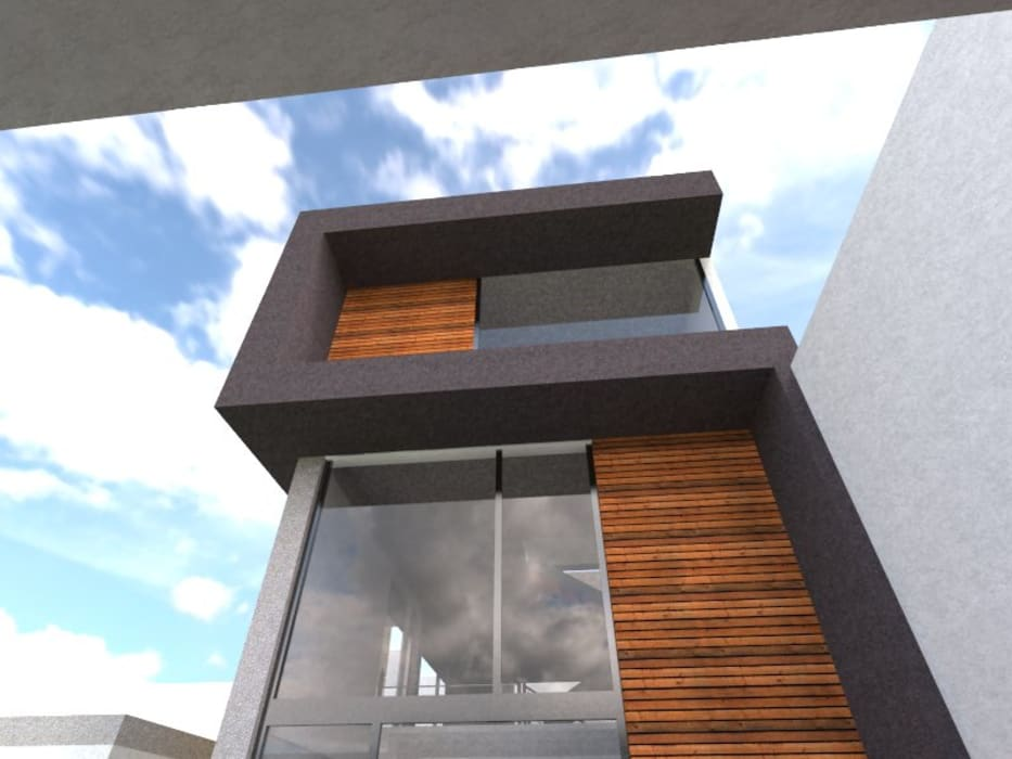 Fachada Hernández Atelier: Casas de estilo  por Bamboo design & garden