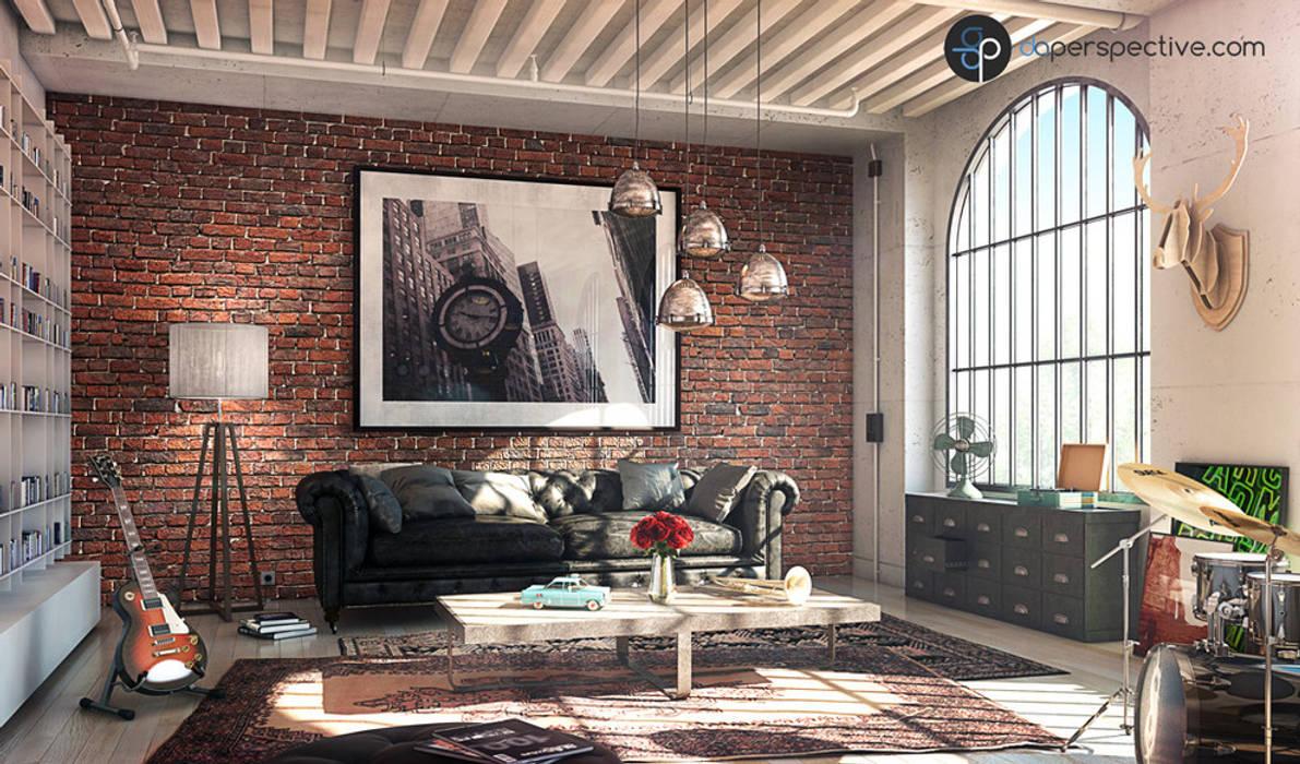Salon avec un mur en briques - Living room with brick walls par daperspective