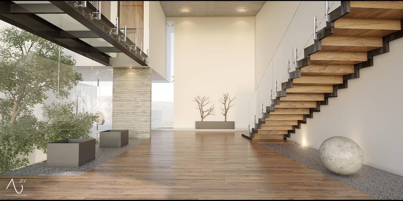 Corridor & hallway by 21arquitectos, Minimalist