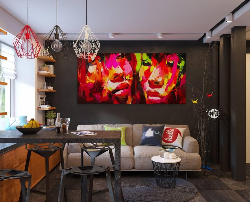 Дизайн интерьера 2-ком. квартиры в Днепропетровске GP-ARCH Гостиная в стиле лофт