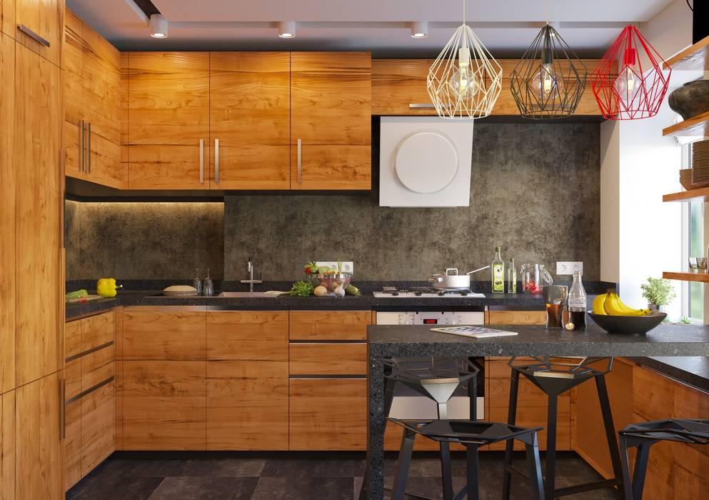 Дизайн интерьера 2-ком. квартиры в Днепропетровске GP-ARCH Кухня в стиле лофт