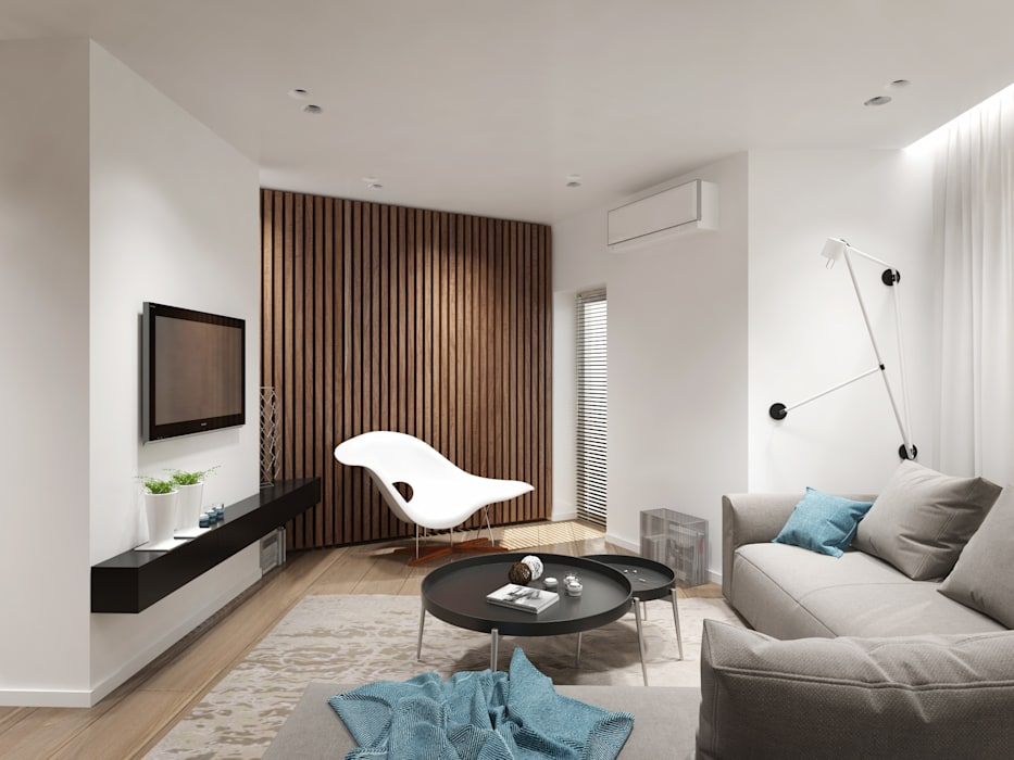 12 квартал: Гостиная в . Автор – Y.F.architects,