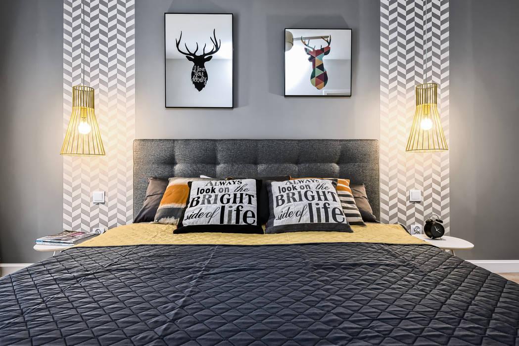 MIESZKANIE POKAZOWE NA OŁTASZYNIE Skandynawska sypialnia od Q2Design Skandynawski
