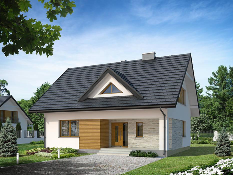Elewacja frontowa projektu Indygo 4 Nowoczesne domy od Biuro Projektów MTM Styl - domywstylu.pl Nowoczesny