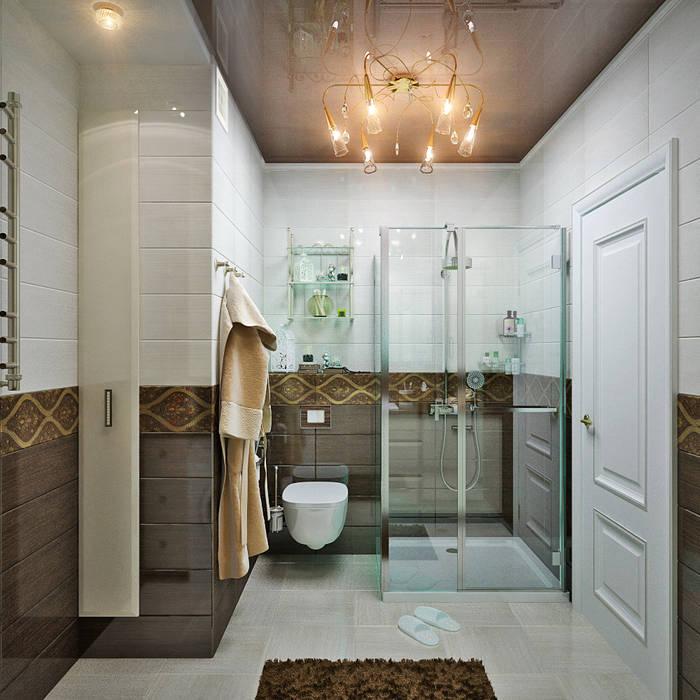 http://design-studio-ideas.ru/ru-ru/etud-v-pastelnyh-tonah-dizain-kvartiry-v-novostroike Ванная комната в стиле модерн от Студия дизайна Interior Design IDEAS Модерн