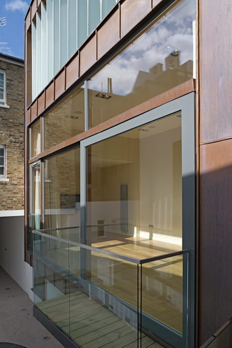 Living room facade Modern Terrace by The Chase Architecture Modern Glass