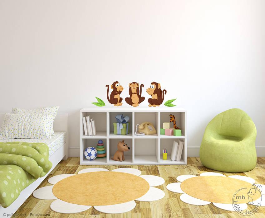 Wandtattoo Die Drei Affen - nicht hören, nicht sehen, nicht sprechen MHBilder-Design KinderzimmerAccessoires und Dekoration Kunststoff Mehrfarbig
