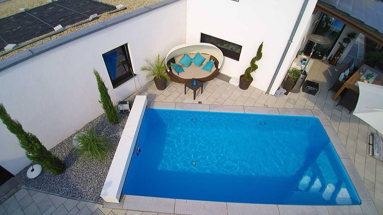 Pool inkl aufrollvorrichtung für solarabdeckung: modern von ...