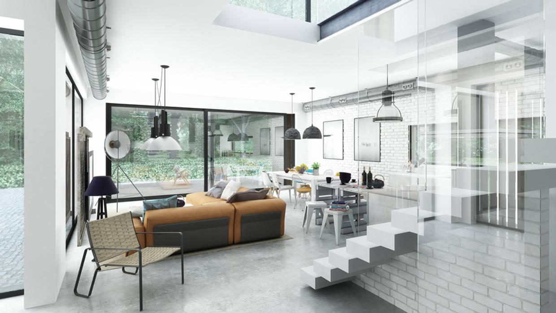 Livings de estilo moderno de Majchrzak Pracownia Projektowa Moderno