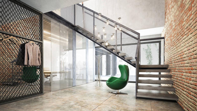 Majchrzak Pracownia Projektowa Modern Corridor, Hallway and Staircase
