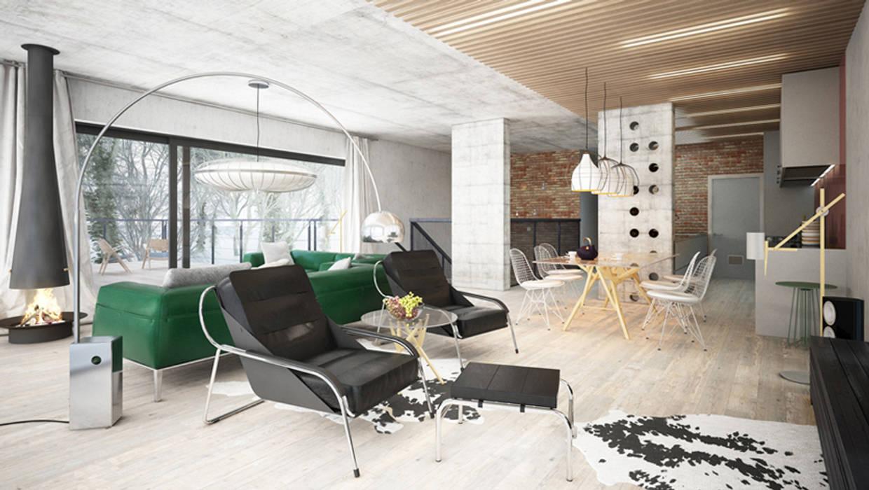 Projekty domów - House x07 Majchrzak Pracownia Projektowa Nowoczesny salon