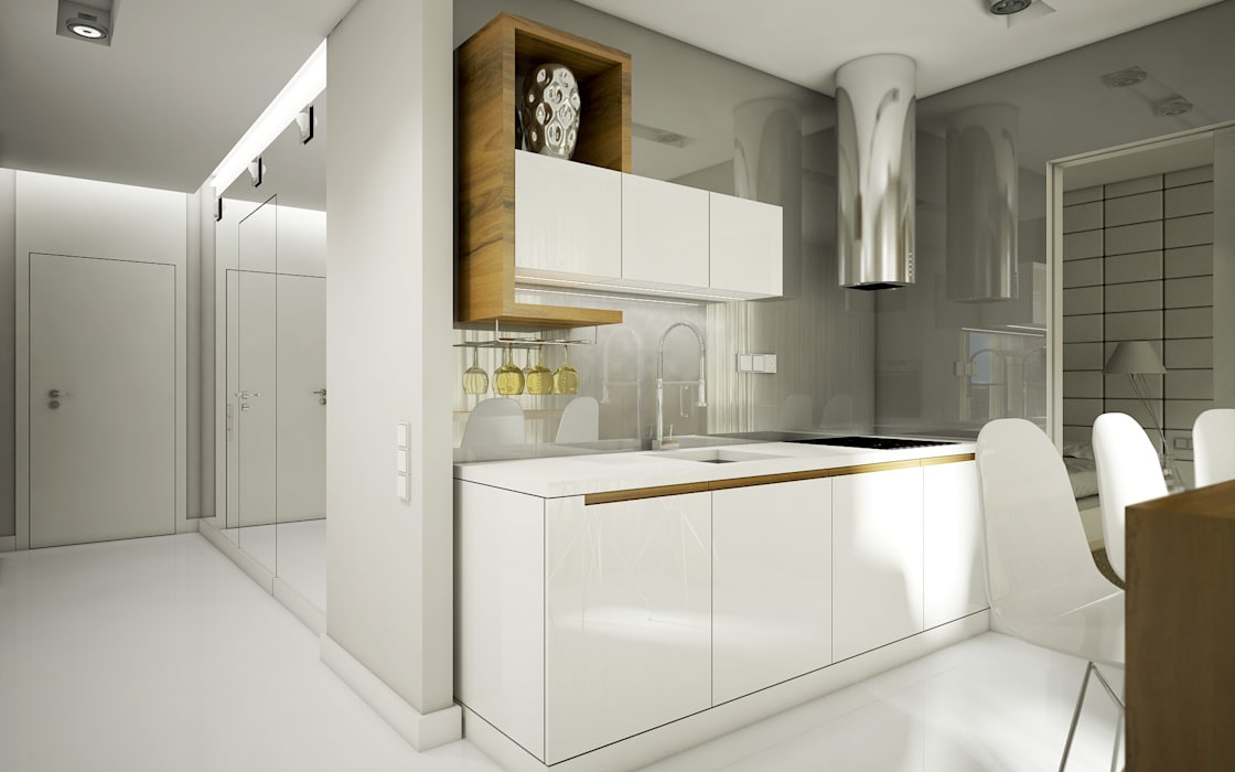 NatusDESIGN Pracownia Architektury Wnętrz Cucina minimalista MDF Bianco