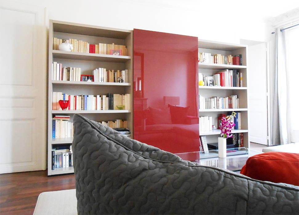 Meuble TV bibliothèque Salon Haussmanien: Salon de style de style Moderne par Bulles Concept - Visualisation & Personnalisation de votre intérieur