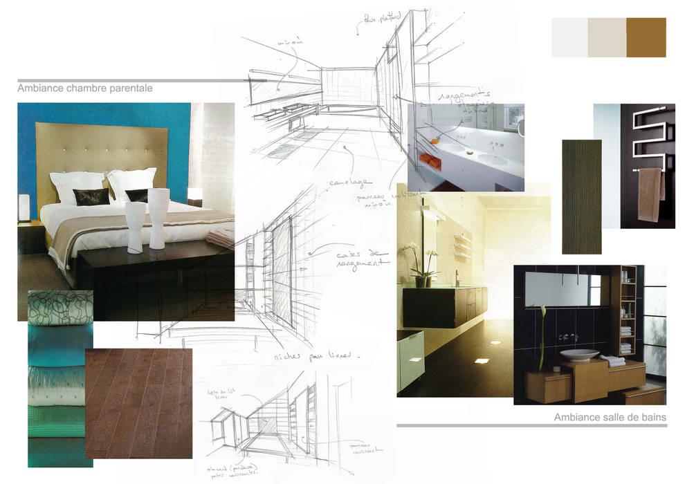 Planche d'ambiance chambre et salle de bains Kauri Architecture Chambre moderne