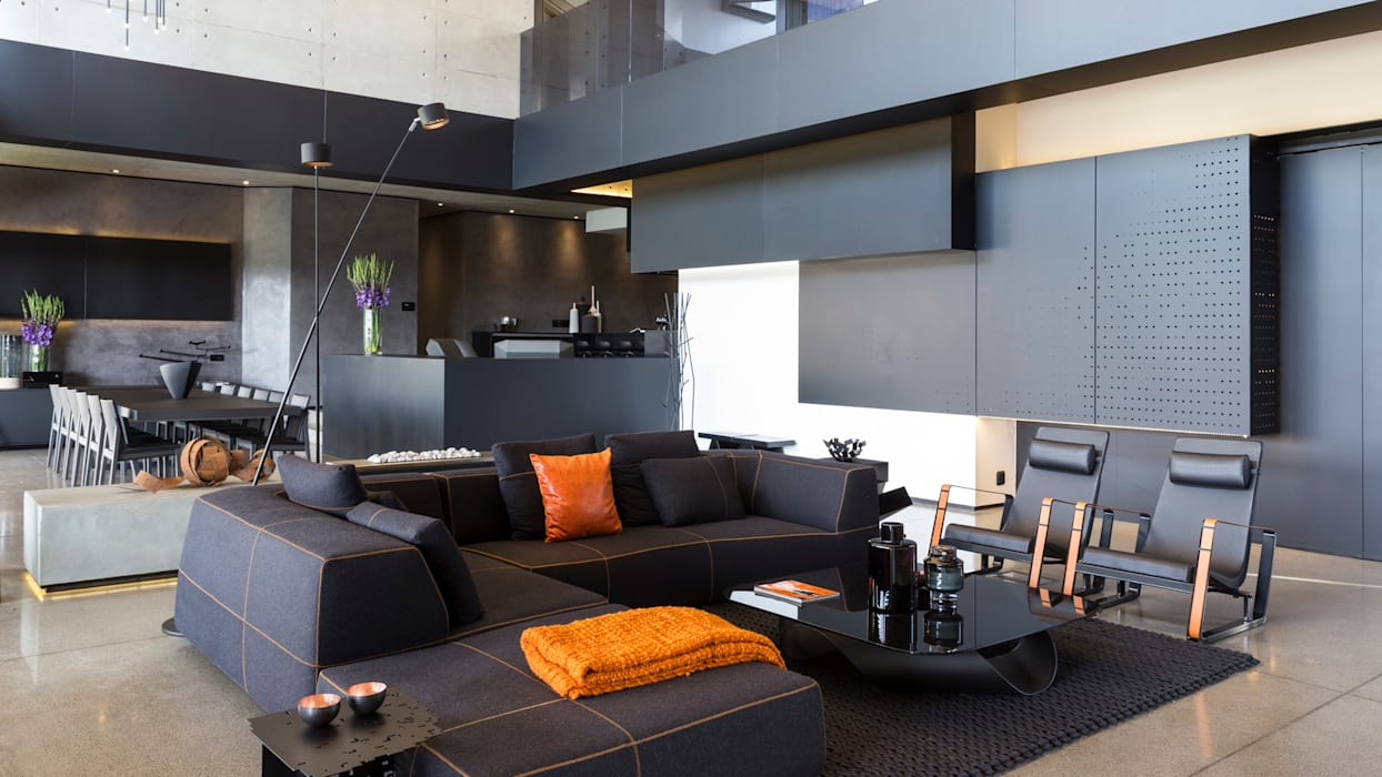 House in Kloof Road :  Living room by Nico Van Der Meulen Architects , Modern